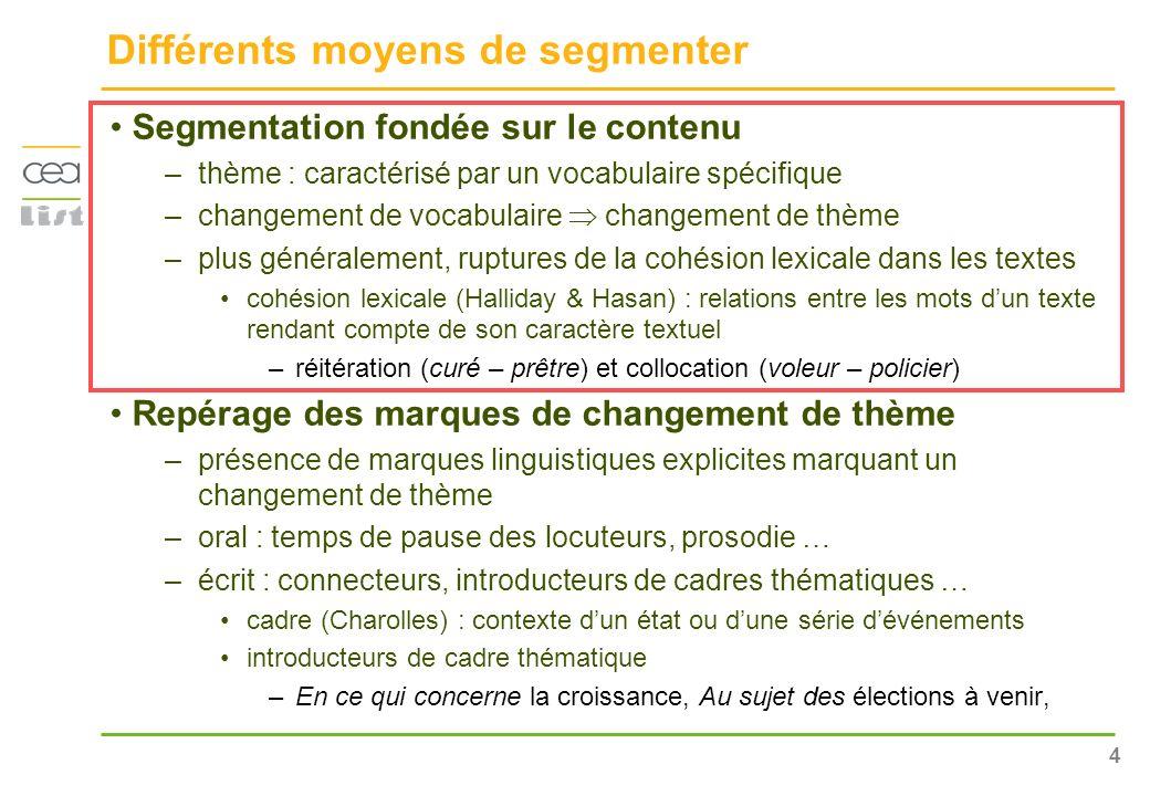 4 Différents moyens de segmenter Segmentation fondée sur le contenu –thème : caractérisé par un vocabulaire spécifique –changement de vocabulaire chan