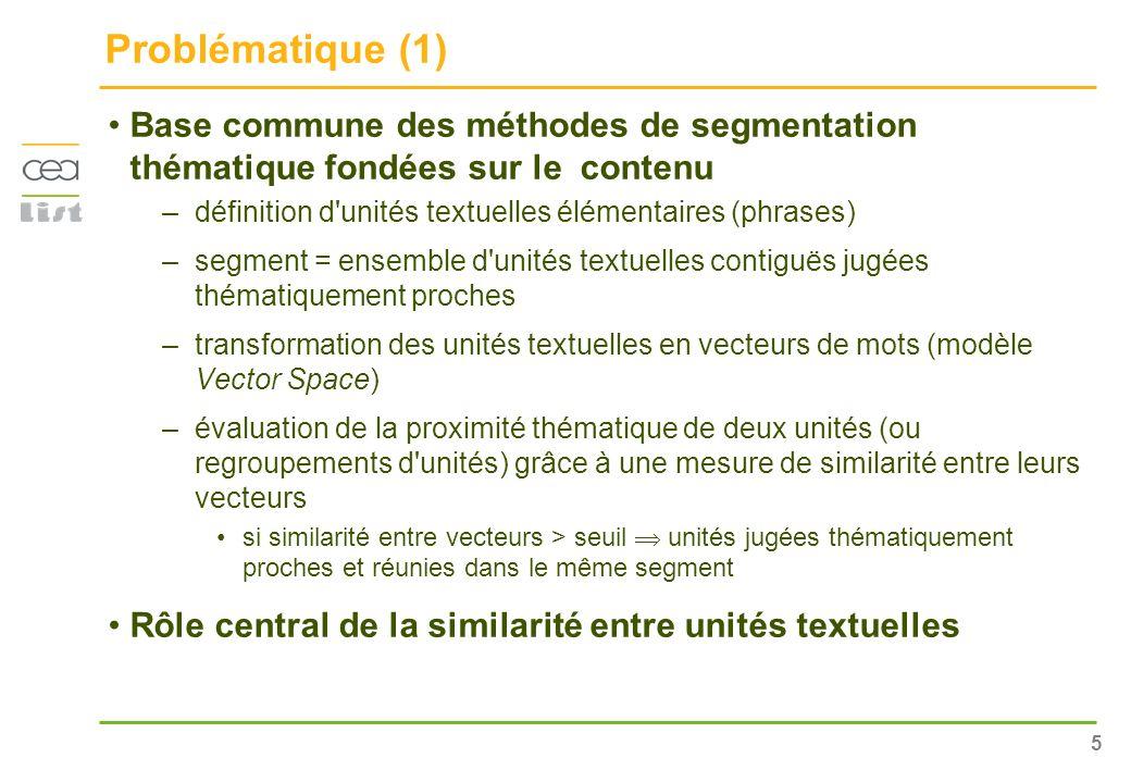 5 Problématique (1) Base commune des méthodes de segmentation thématique fondées sur le contenu –définition d'unités textuelles élémentaires (phrases)