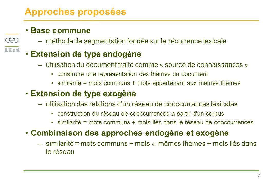 7 Approches proposées Base commune –méthode de segmentation fondée sur la récurrence lexicale Extension de type endogène –utilisation du document trai