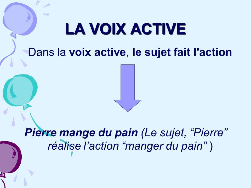 LA VOIX ACTIVE Dans la voix active, le sujet fait l'action Pierre mange du pain (Le sujet, Pierre réalise laction manger du pain )