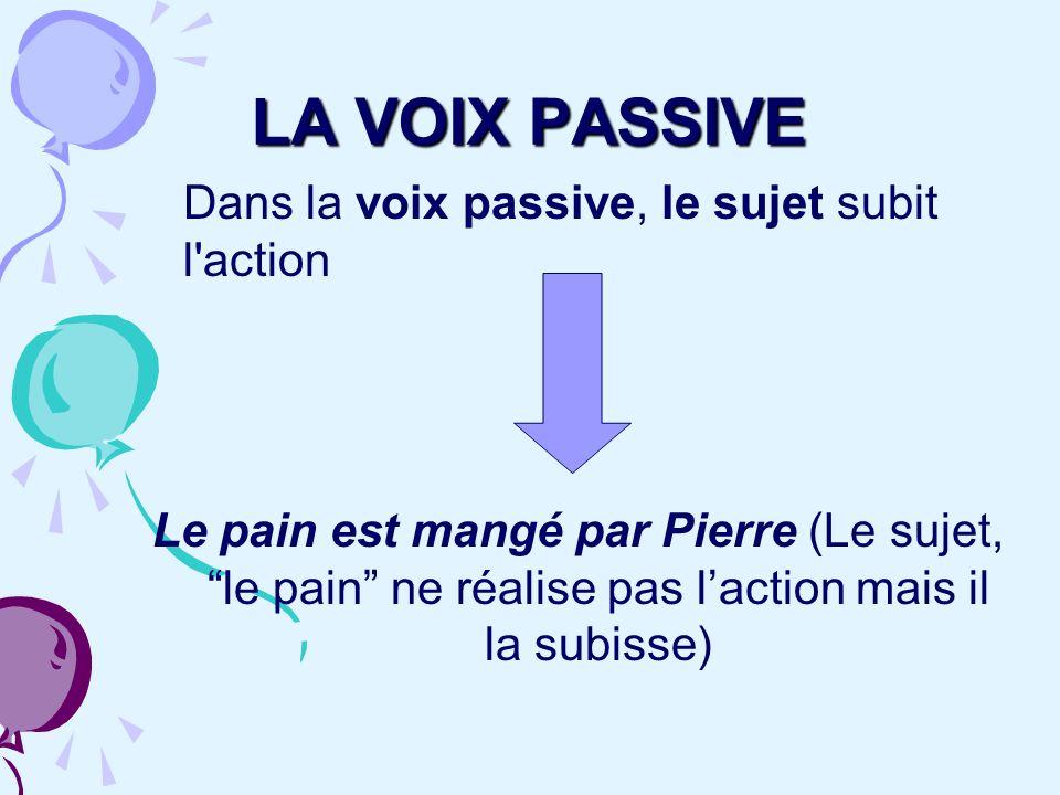 Dans la voix passive, le sujet subit l'action Le pain est mangé par Pierre (Le sujet, le pain ne réalise pas laction mais il la subisse) LA VOIX PASSI