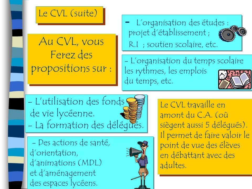 Au CVL, vous Ferez des propositions sur : Au CVL, vous Ferez des propositions sur : Le CVL (suite) - Lutilisation des fonds de vie lycéenne.