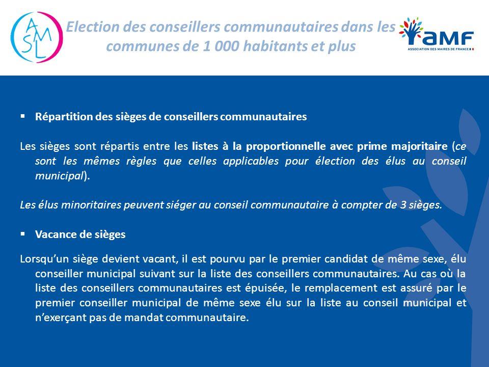 Répartition des sièges de conseillers communautaires Les sièges sont répartis entre les listes à la proportionnelle avec prime majoritaire (ce sont les mêmes règles que celles applicables pour élection des élus au conseil municipal).