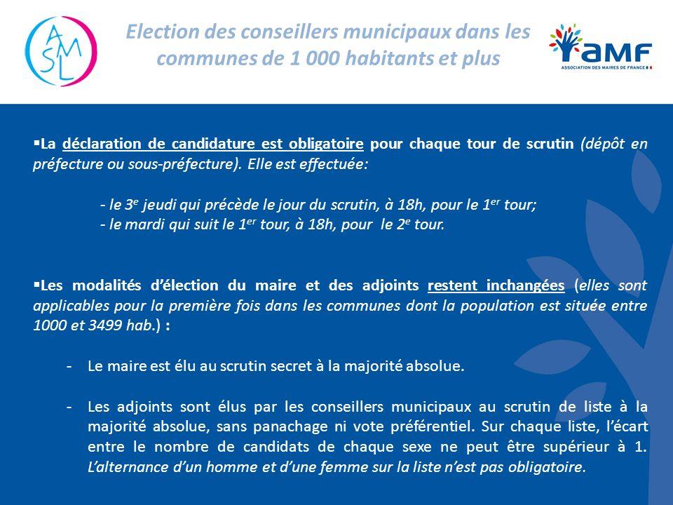 La déclaration de candidature est obligatoire pour chaque tour de scrutin (dépôt en préfecture ou sous-préfecture). Elle est effectuée: - le 3 e jeudi