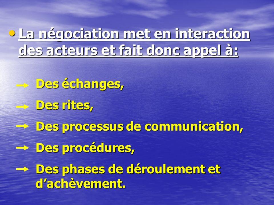 DEFINITIONS DE LA NEGOCIATION Première définition (en terme de finalité et de résultat): La négociation est un système de décision par lequel les acteurs sentendent dun commun accord au lieu dagir par voie unilatérale.