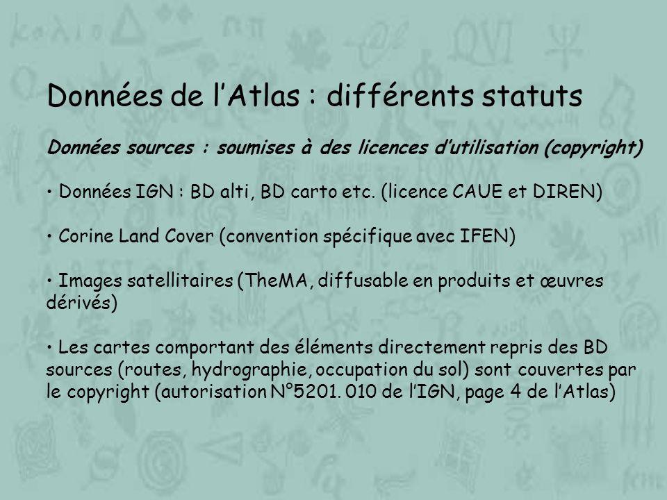 Données de lAtlas : différents statuts Données sources : soumises à des licences dutilisation (copyright) Données IGN : BD alti, BD carto etc. (licenc