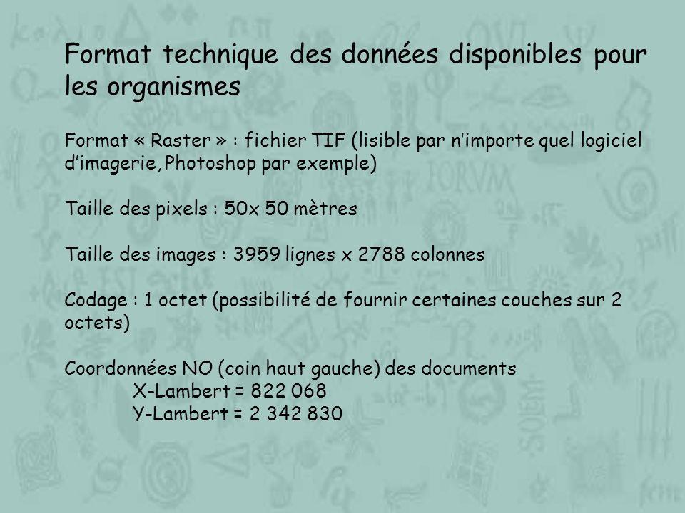 Format technique des données disponibles pour les organismes Format « Raster » : fichier TIF (lisible par nimporte quel logiciel dimagerie, Photoshop