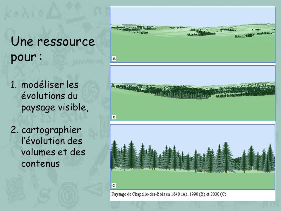 Une ressource pour : 1.modéliser les évolutions du paysage visible, 2. cartographier lévolution des volumes et des contenus
