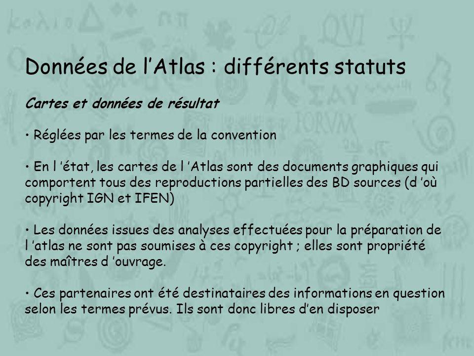 Données de lAtlas : différents statuts Cartes et données de résultat Réglées par les termes de la convention En l état, les cartes de l Atlas sont des