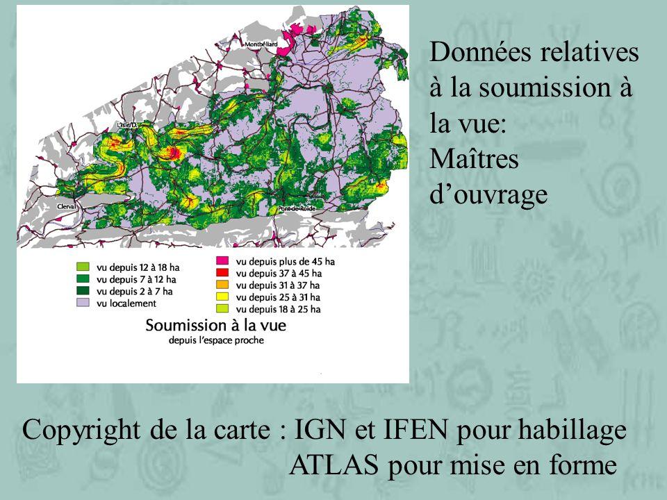 Copyright de la carte : IGN et IFEN pour habillage ATLAS pour mise en forme Données relatives à la soumission à la vue: Maîtres douvrage