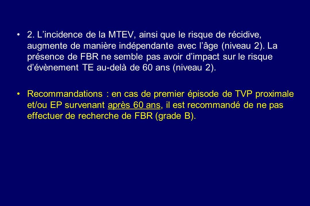 2. Lincidence de la MTEV, ainsi que le risque de récidive, augmente de manière indépendante avec lâge (niveau 2). La présence de FBR ne semble pas avo