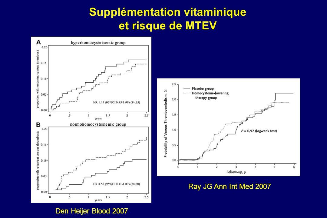 Den Heijer Blood 2007 Supplémentation vitaminique et risque de MTEV Ray JG Ann Int Med 2007