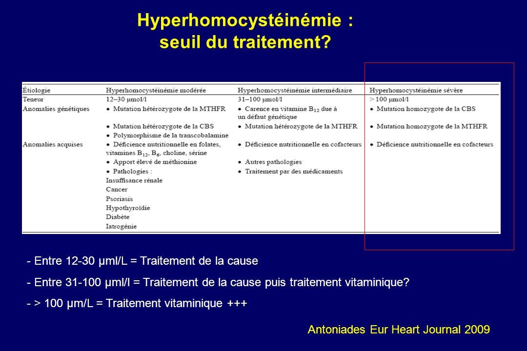 - - Entre 12-30 µml/L = Traitement de la cause - - Entre 31-100 µml/l = Traitement de la cause puis traitement vitaminique? - - > 100 µm/L = Traitemen