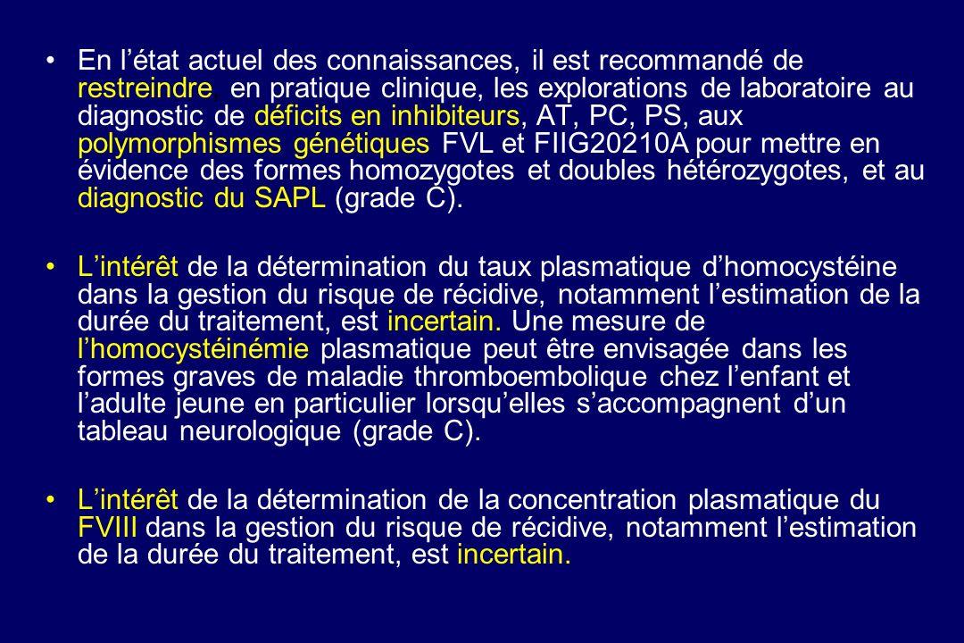 En létat actuel des connaissances, il est recommandé de restreindre, en pratique clinique, les explorations de laboratoire au diagnostic de déficits e