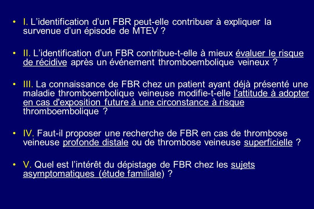 I. Lidentification dun FBR peut-elle contribuer à expliquer la survenue dun épisode de MTEV ? II. Lidentification dun FBR contribue-t-elle à mieux éva