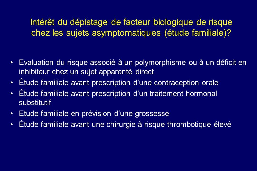 Intérêt du dépistage de facteur biologique de risque chez les sujets asymptomatiques (étude familiale)? Evaluation du risque associé à un polymorphism