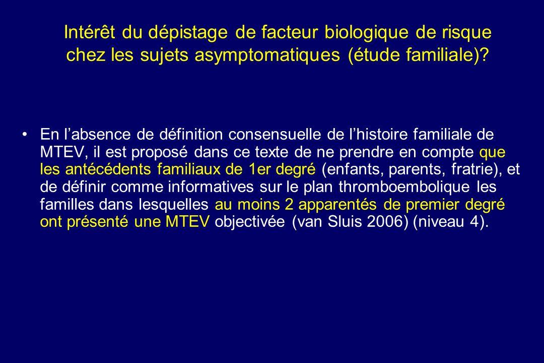 Intérêt du dépistage de facteur biologique de risque chez les sujets asymptomatiques (étude familiale)? En labsence de définition consensuelle de lhis