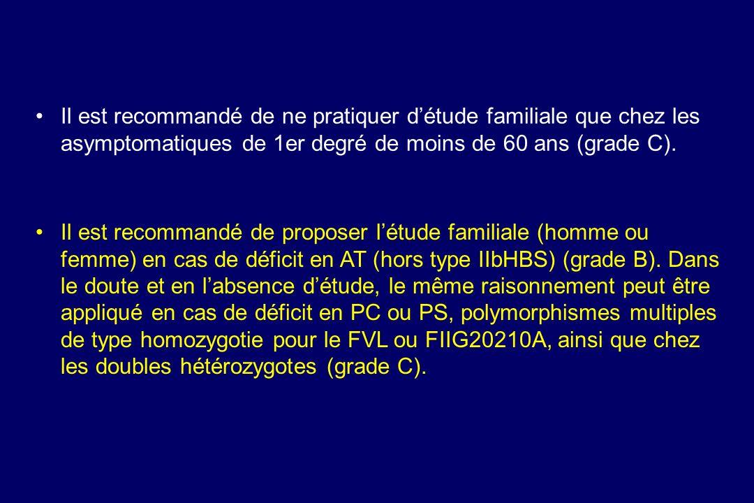 Il est recommandé de ne pratiquer détude familiale que chez les asymptomatiques de 1er degré de moins de 60 ans (grade C). Il est recommandé de propos