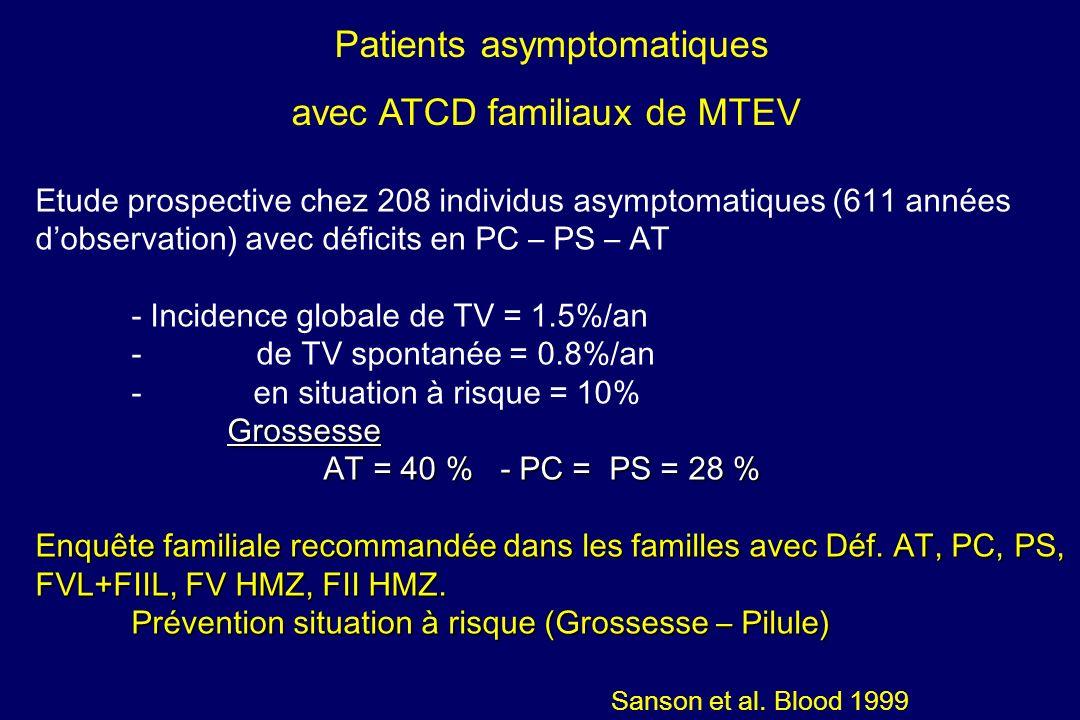 Patients asymptomatiques avec ATCD familiaux de MTEV Etude prospective chez 208 individus asymptomatiques (611 années dobservation) avec déficits en P