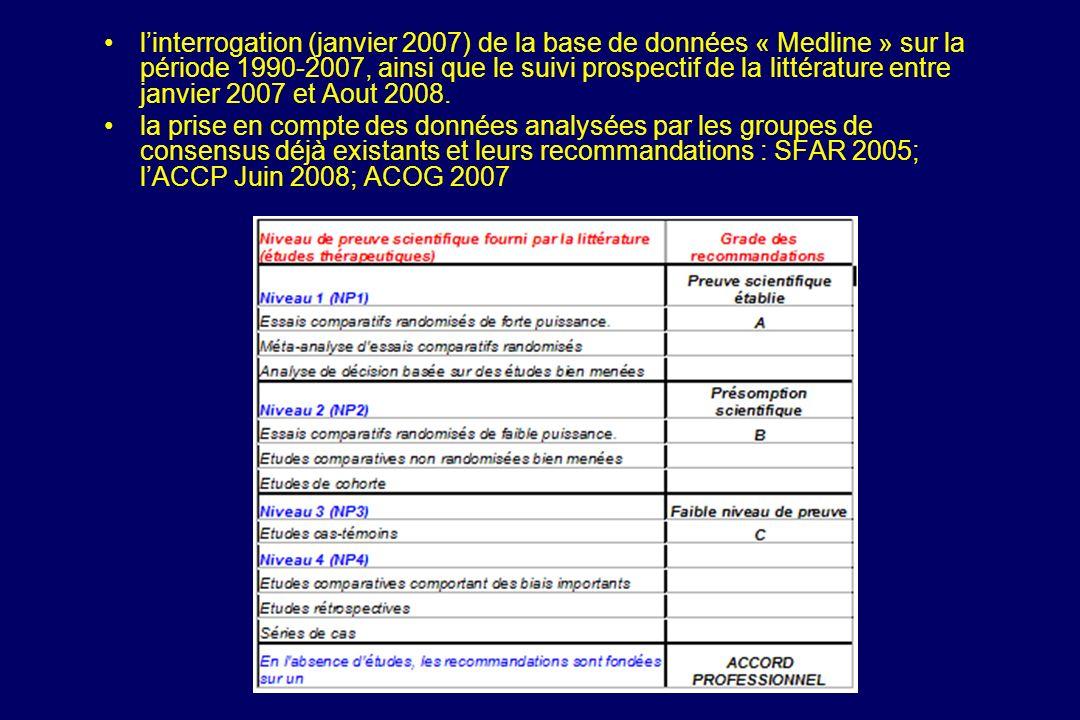 linterrogation (janvier 2007) de la base de données « Medline » sur la période 1990-2007, ainsi que le suivi prospectif de la littérature entre janvie