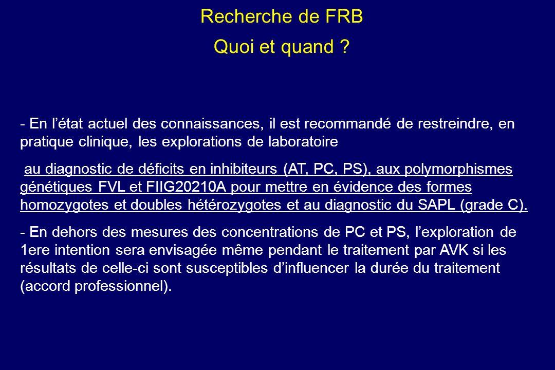 Recherche de FRB Quoi et quand ? - - En létat actuel des connaissances, il est recommandé de restreindre, en pratique clinique, les explorations de la