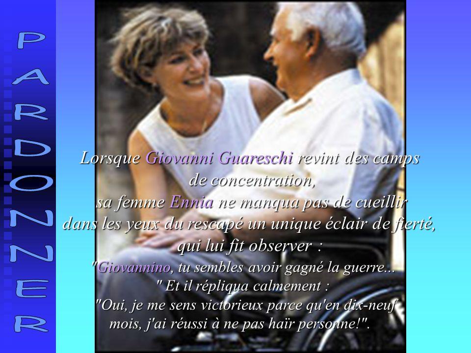 Lorsque Giovanni Guareschi revint des camps de concentration, sa femme Ennia ne manqua pas de cueillir sa femme Ennia ne manqua pas de cueillir dans les yeux du rescapé un unique éclair de fierté, qui lui fit observer : Giovannino, tu sembles avoir gagné la guerre...
