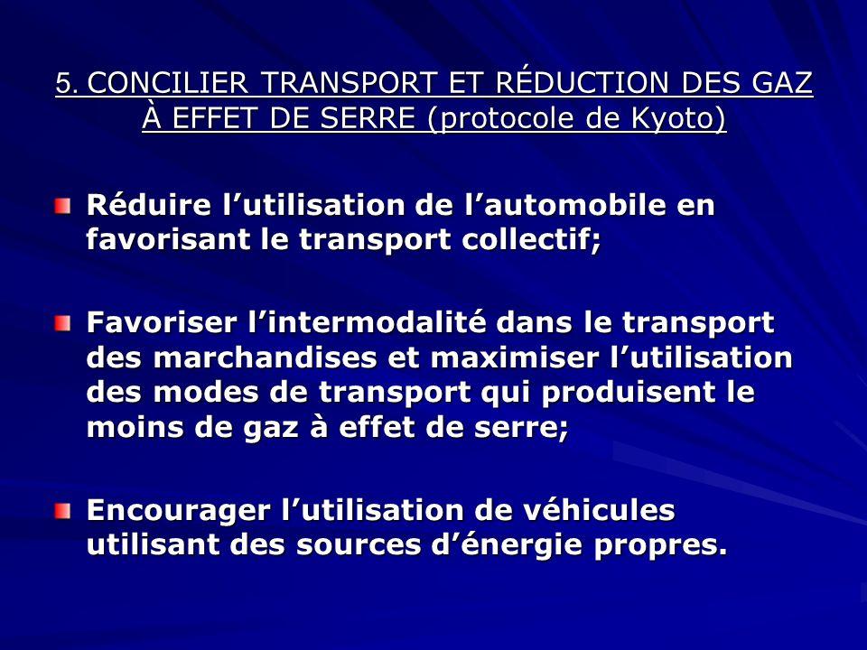 5. CONCILIER TRANSPORT ET RÉDUCTION DES GAZ À EFFET DE SERRE (protocole de Kyoto) Réduire lutilisation de lautomobile en favorisant le transport colle