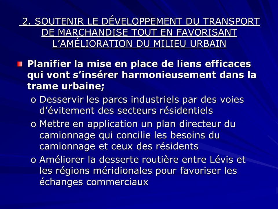 Planifier la mise en place de liens efficaces qui vont sinsérer harmonieusement dans la trame urbaine; oDesservir les parcs industriels par des voies