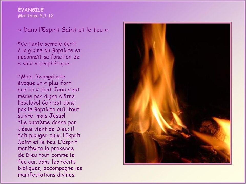 ÉVANGILE Matthieu 3,1-12 « Dans lEsprit Saint et le feu » *Ce texte semble écrit à la gloire du Baptiste et reconnaît sa fonction de « voix » prophétique.