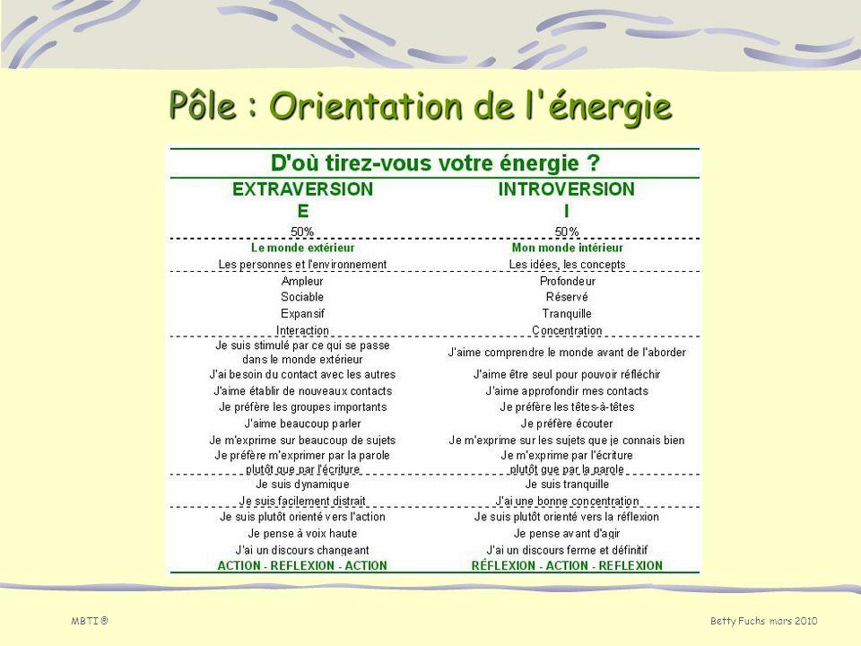Betty Fuchs mars 2010 MBTI ® Pôle : Orientation de l'énergie