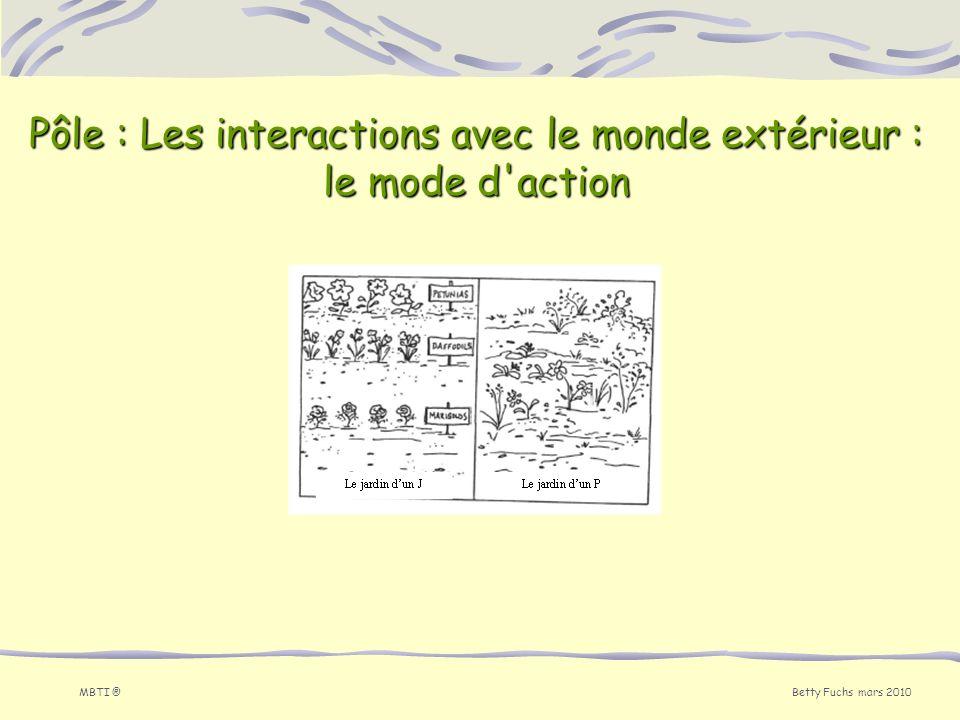 Betty Fuchs mars 2010 MBTI ® Pôle : Les interactions avec le monde extérieur : le mode d'action