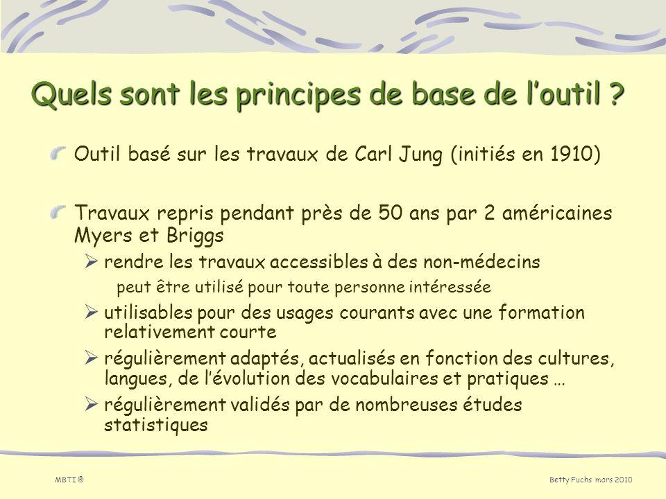 Betty Fuchs mars 2010 MBTI ® Outil basé sur les travaux de Carl Jung (initiés en 1910) Travaux repris pendant près de 50 ans par 2 américaines Myers e