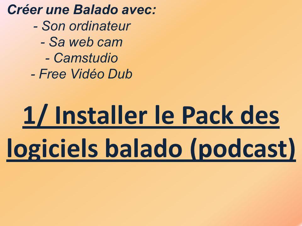 Créer une Balado avec: - Son ordinateur - Sa web cam - Camstudio - Free Vidéo Dub 1/ Installer le Pack des logiciels balado (podcast)