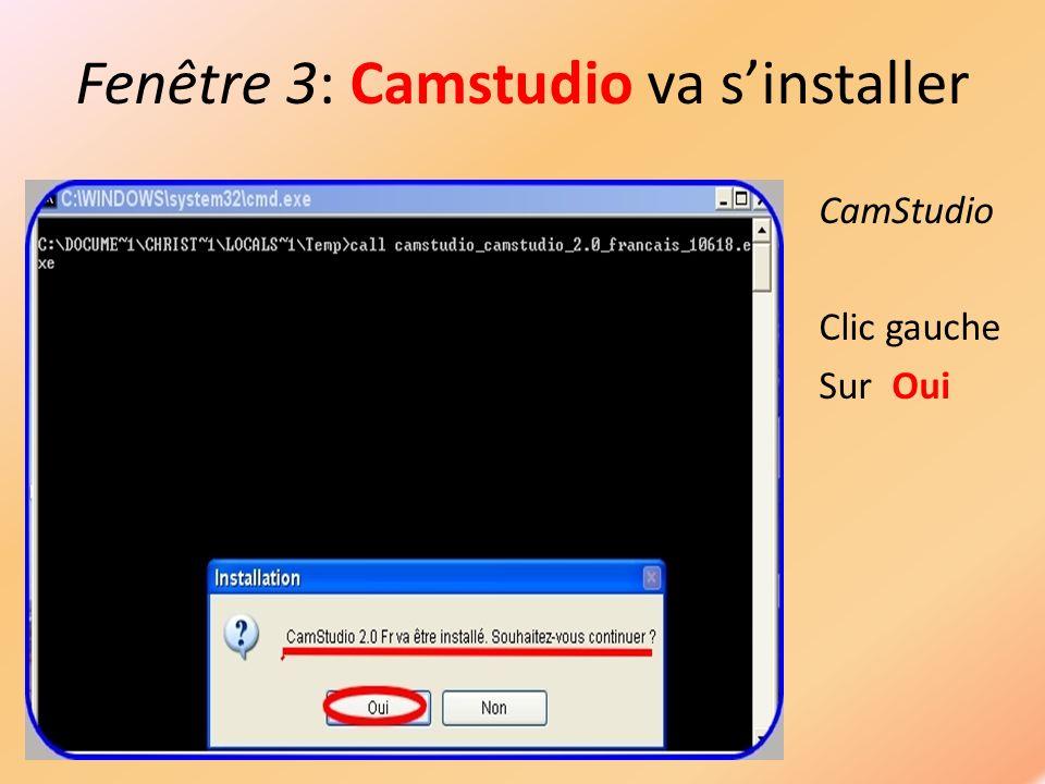 Fenêtre 4: Procédure dinstallation CamStudio Clic gauche Sur Suivant