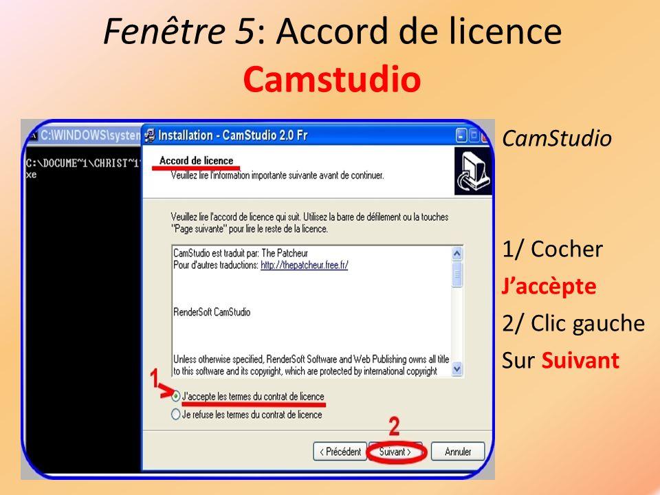 Fenêtre 6: Répertoire de destination CamStudio Clic gauche Sur Suivant