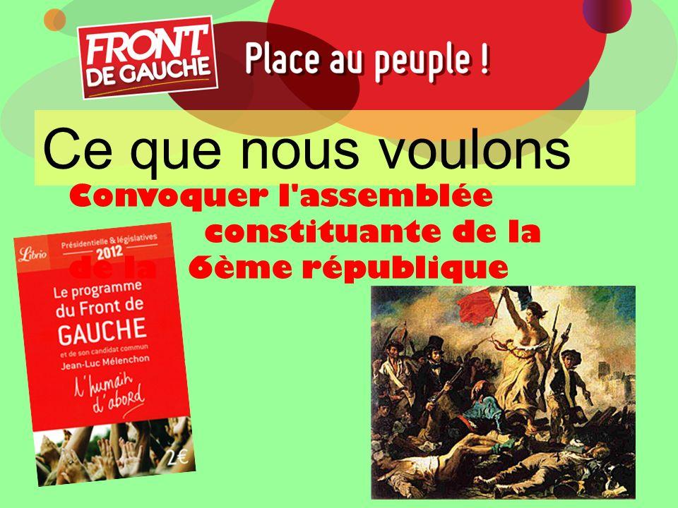 Ce que nous voulons Convoquer l assemblée constituante de la de la 6ème république