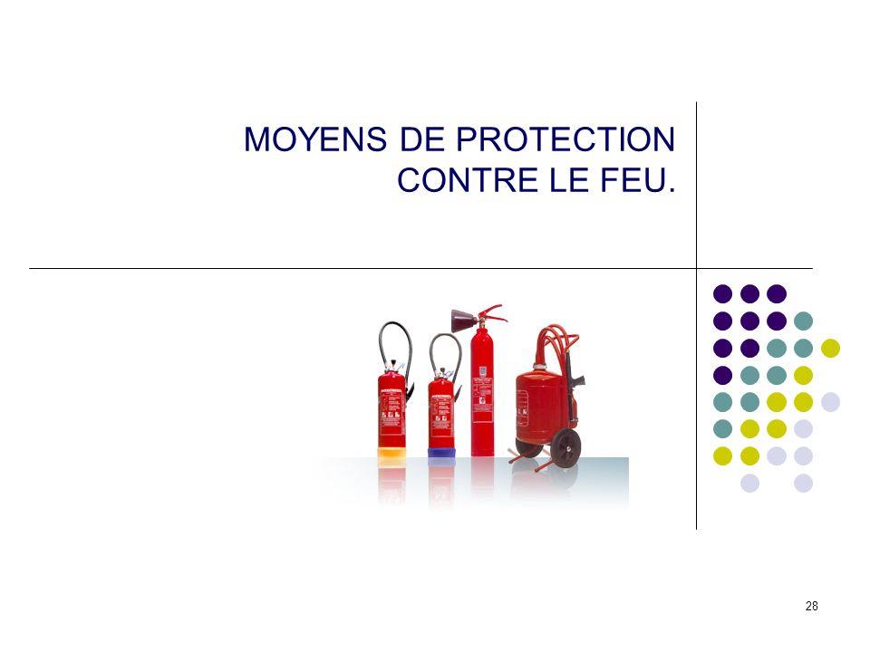 28 MOYENS DE PROTECTION CONTRE LE FEU.