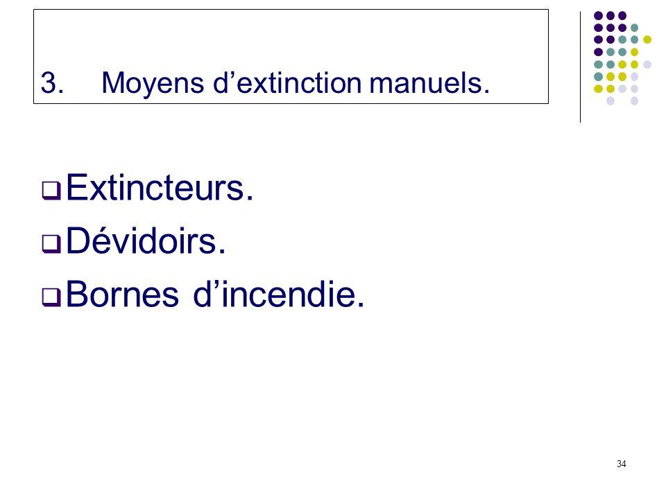 34 3.Moyens dextinction manuels. Extincteurs. Dévidoirs. Bornes dincendie.