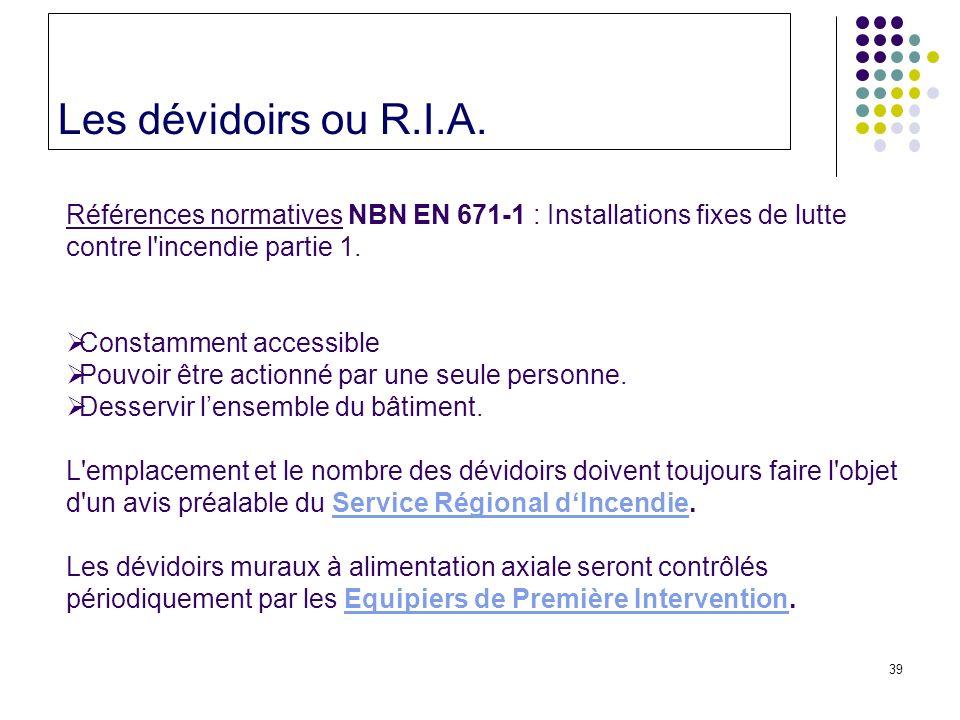 39 Les dévidoirs ou R.I.A.