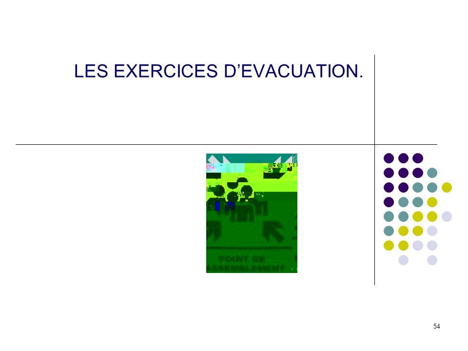 54 LES EXERCICES DEVACUATION.