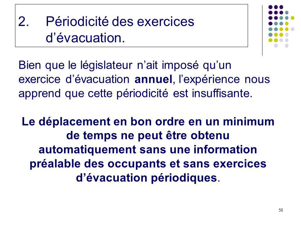 56 2.Périodicité des exercices dévacuation.