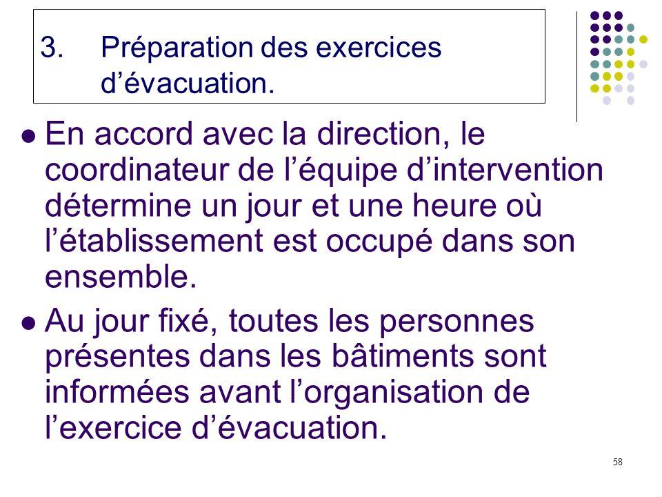 58 3.Préparation des exercices dévacuation.