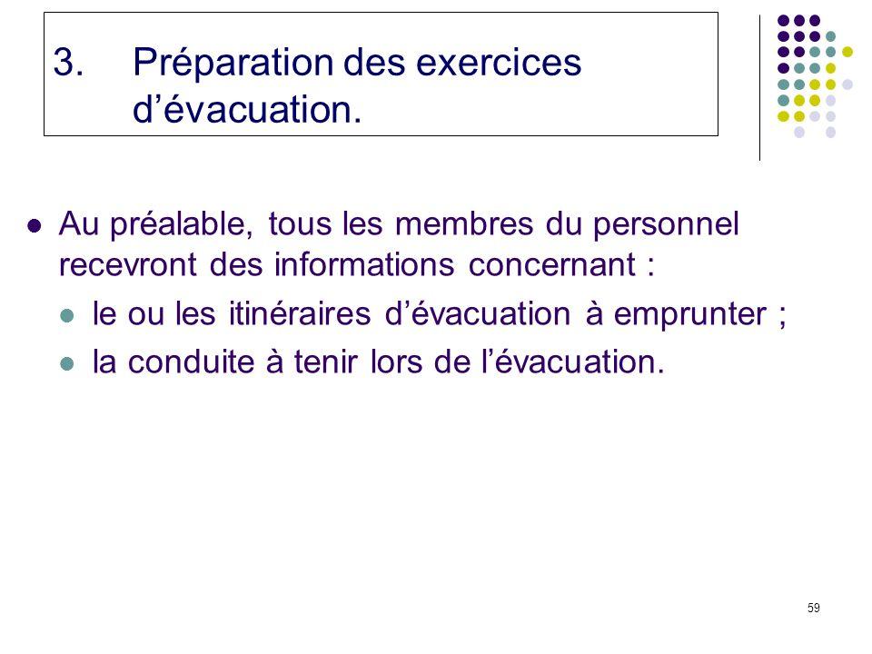 59 3.Préparation des exercices dévacuation.