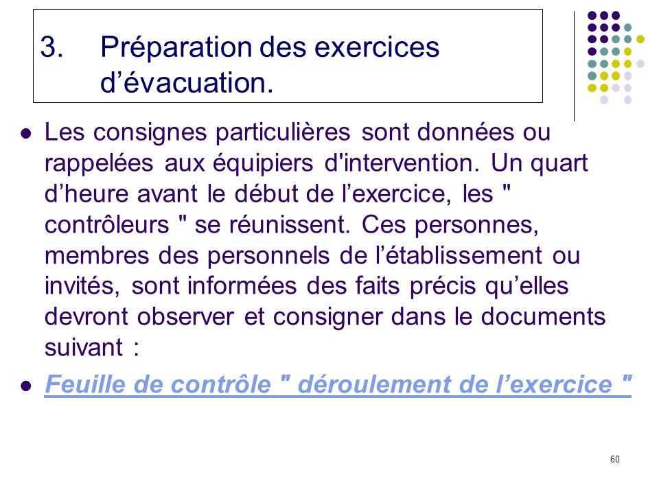 60 3.Préparation des exercices dévacuation.