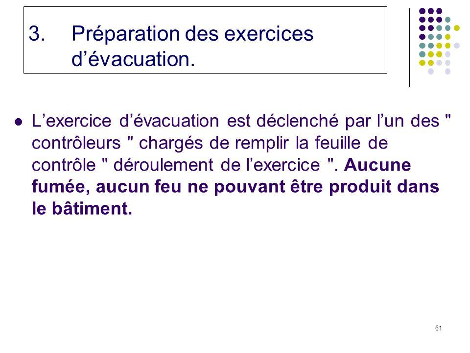 61 3.Préparation des exercices dévacuation.