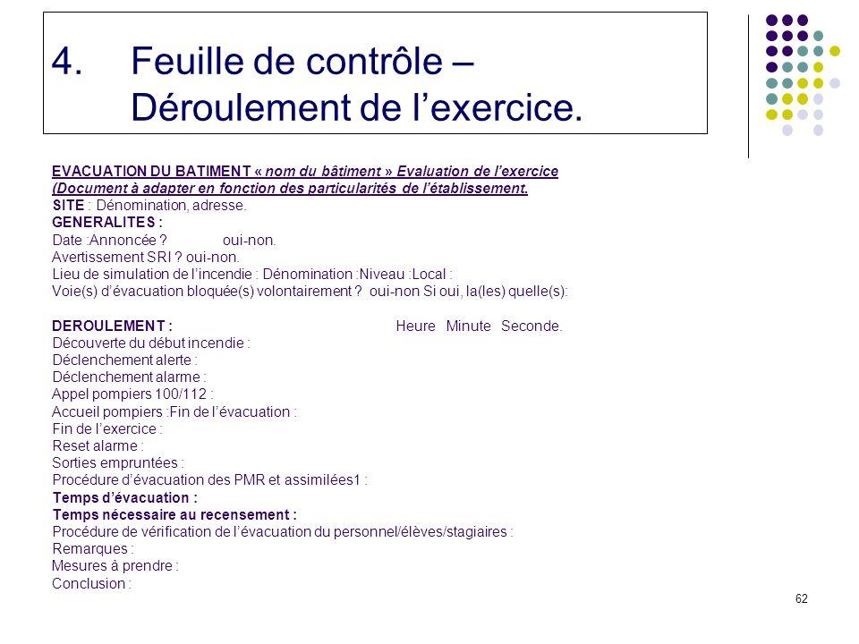 62 4.Feuille de contrôle – Déroulement de lexercice.