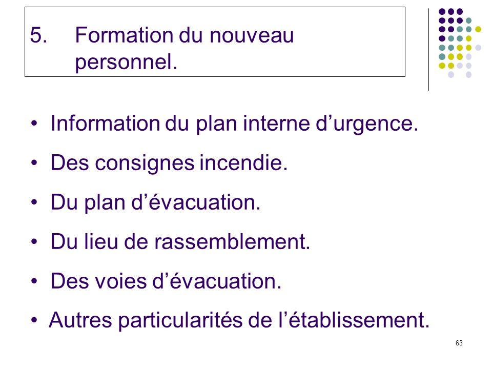 63 5.Formation du nouveau personnel.Information du plan interne durgence.