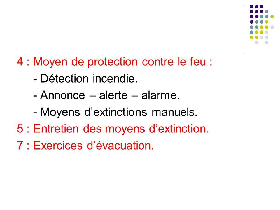 4 : Moyen de protection contre le feu : - Détection incendie.