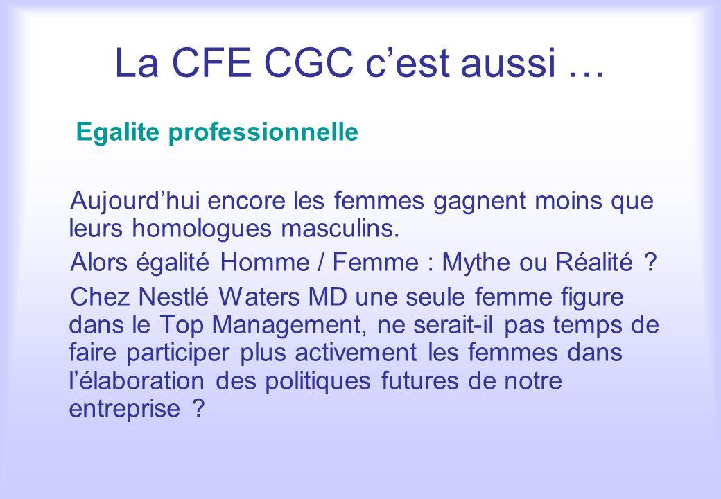 La CFE CGC cest aussi … Egalite professionnelle Aujourdhui encore les femmes gagnent moins que leurs homologues masculins. Alors égalité Homme / Femme