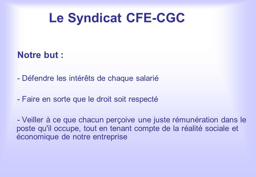 Le Syndicat CFE-CGC Notre but : - Défendre les intérêts de chaque salarié - Faire en sorte que le droit soit respecté - Veiller à ce que chacun perçoi